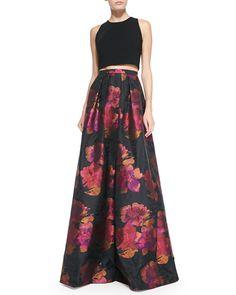 Carmen Marc Valvo Sleeveless Crop Top & Floral-Print Ball Skirt