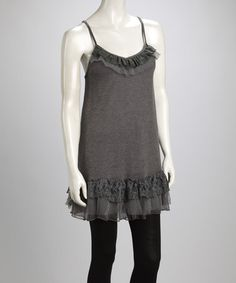 Take a look at this Gray Lace Ruffle Silk-Blend Camisole Tunic by Pretty Angel on #zulily today!