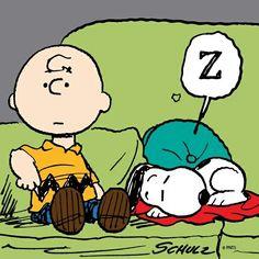 Charlie Brown and sleeping Snoopy