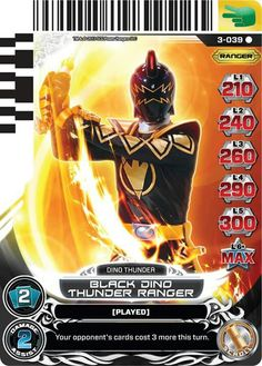 Black Dino Thunder Ranger power rangers trading card
