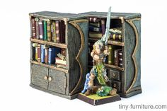 Painted furnitue - Librarian's bookshelves (painted)  Two old-fashioned wooden bookshelves with a lot of different books and scrolls.  Fully painted with acrilic paints by the profeccional artist. Made of resin. A varnish coat added to avoid scratches in manipulation.