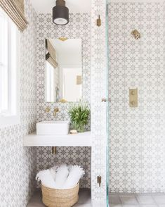 Our top pins are on the blog today and it's FREE SHIPPING @mcgeeandco! I love that although I've seen this cement tile pattern before, it feels completely fresh and new in this design by @amandabarnesinteriors. Photo by @alyssarosenheck.