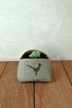 Graue Keramik Pflanzgefäß einzigartige Pflanzer von ShellyClayspot