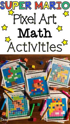 These Super Mario Math Matching Activities, sold on TPT, contain 5 different sets of 15 Questions and 26 different Pixel Art Images. Math concepts range from grade math all the way up to grade. Multiplication Activities, Fun Math Activities, Math Games, Homeschool Kindergarten, Homeschooling, Super Mario Birthday, Super Mario Art, Math Concepts, 2nd Grade Math