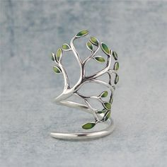 Enamel leaf & Tree Branch Ring, Sterling Silver Branch Ring,Twig Ring,Tree…