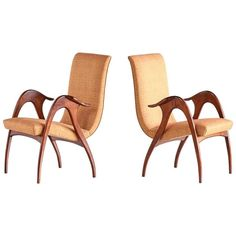 Pair of Sculptural Walnut Armchairs by Malatesta and Mason, Early 1950s | 1stdibs.com