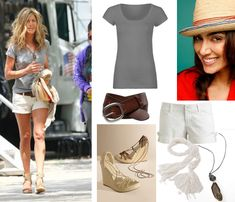 Celebrity Looks for less:  Jennifer  Aniston  always has a classic style that's great for any age.  Older women can modify this look with Bermuda shorts. Luv the wooden wedge sandals