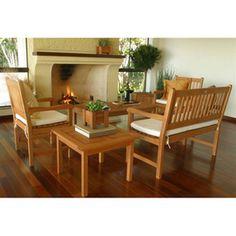 International Home�4-Piece Amazonia Brown Wood Patio Conversation Set with Cushion Cushion Cushions