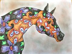 """Colored by Elizabeth Sunshine from the book """"The Amazing World of Horses"""". Adult Coloring Book for horse lovers."""