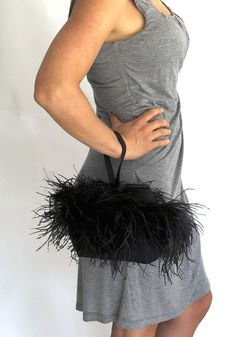 Evening Wristlet/ Black Ostrich Feathers on Raw Silk/ Fancy Handbag/ Artisan Made Bag on Etsy, $129.00