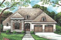Plan Three Styles to Choose From This petite European house plan has elegant arched windows and a lovely hip roof, with just enough Lake House Plans, Ranch House Plans, Best House Plans, Dream House Plans, Small House Plans, House Floor Plans, Dream Houses, French Country House Plans, European House Plans