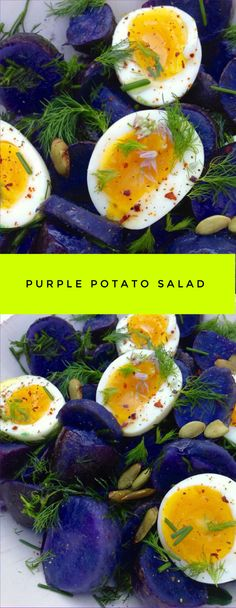 Purple Potato Salad Recipe , unreal purple fingerlings dressed in smooth extra virgin olive oil, dill,chives and the perfect creamy eggs. Salad Recipes, Diet Recipes, Vegetarian Recipes, Healthy Recipes, Yam Recipes, Fancy Recipes, Recipies, Purple Potato Recipes, Purple Food