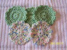 Crocheted Flower Baby Scrubbies  set of 5  by kayandgirlscrafts, $3.00