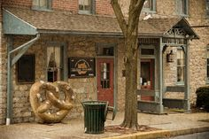 The Julius Sturgis Pretzel Bakery in Lancaster County's Lititz is America's first commercial pretzel bakery. Founded in 1861 by Julius Sturgis, this historic location is maintained today by the Sturgis family. Visitors are welcome to tour the facility and learn the history of pretzel making in America, and find pretzels baked with the same old-fashioned techniques pioneered by Julius Sturgis himself.