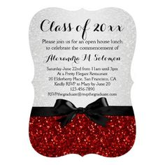 Red/White Sparkly Bow Shaped Graduation Invitation, Custom Personalized printed girly graduation party invitation announcement #classof2014 #graduationparty @zazzle_inc