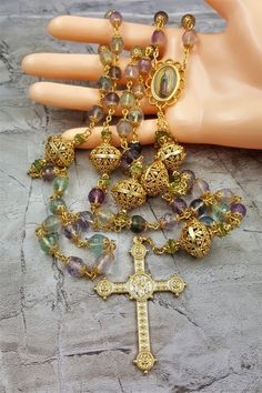 Our Lady of Guadalupe Amethyst Fluorite Peridot Handcrafted Gold Rosary Gold Rosary, Rosary Beads, Prayer Beads, Emerald Necklace, Birthstone Necklace, Catholic Jewelry, Catholic Crafts, Peridot, Amethyst