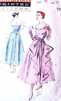 1950s GLAMOROUS Strapless Evening Formal Dress Pattern BUTTERICK 5527 Huge Cascading Sash Full Party Cocktail Skirt Bust 34 Vintage Sewing Pattern