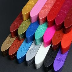 Hot Selling Vintage Colorful Sealing Wax Carved Sticks for Custom Logo Wax Seal Stamp VBL64 P10