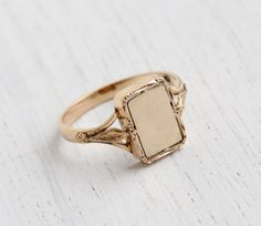Antique 14K Rosey Yellow Gold Signet Ring - Size 6 Art Deco 1920s 1930s Personalized Initial Jewelry  / Blank Plate