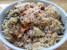Seafood Coconut Rice w/shrimp, mussels, pumkin, swordfish, macademia nuts, cilantro, mint.