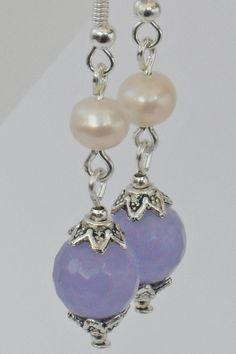 Cream pearl and purple alexandrite earrings   by Beadstorm Jewellery