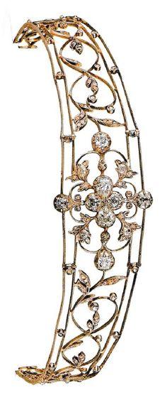 Chaumet - A Belle gold and diamond bandeau tiara, circa 1918. Source: Chaumet Paris.