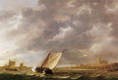 Aelbert Cuyp | Aelbert Cuyp - The Maas at Dordrecht in a storm