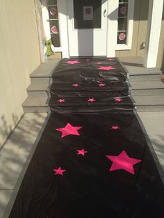 Rockstar runway  Two black table cloths, poster board...