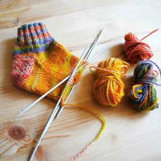 This easy pattern takes you through the basics of sock knitting on a smaller scale. You will be comfortable with the steps needed to knit socks. Knitting Basics, Easy Knitting Patterns, Knitting Kits, Knitting For Beginners, Loom Knitting, Knitting Socks, Free Knitting, Knitting Projects, Knit Socks