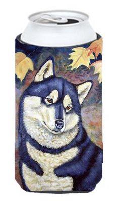 Fall Leaves Siberian Husky Tall Boy Beverage Insulator Beverage Insulator Hugger