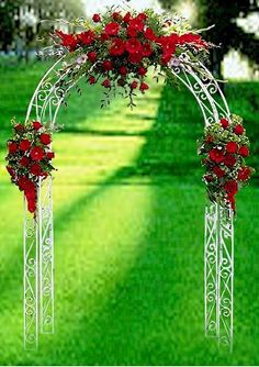 Simples Wedding Arch with the right co.ors some lace or something, help me out here Kimberly.....