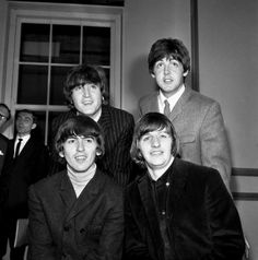 1965-Twickenham, Middlesex, England- The Beatles, the British singing group, are all smiles after they were elevated to Queen Elizabeth's honors list as members of the Order of the British Empire June 12.