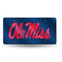 Mississippi Ole Miss Rebels Bling Laser Etched License Plate Tag