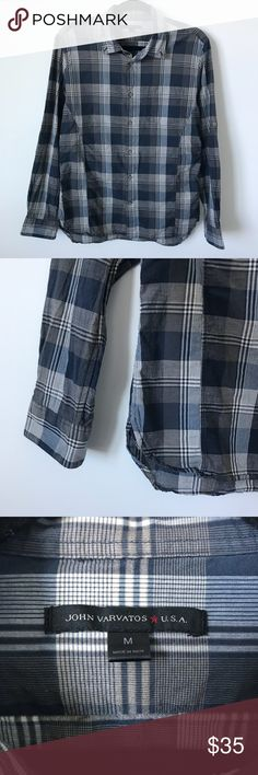 "John Varvatos Plaid Button Down John Varvatos Blue/Gray/White Plaid Button Down 100% Cotton Very Good Condition  Pit-to-Pit: 20"" Sleeve: 26.5"" Length: 24"" John Varvatos Shirts Casual Button Down Shirts"