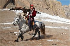 mongolian horseman hunting with eagle