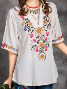 Cheap dress white dress, Buy Quality dress applique directly from China dresses black Suppliers: Women Summer Dress Vintage Mexican Ethnic Flower EMBROIDERY Hippie Blouse Mini Casual Dress Cotton Dresses Vestidos Top Vintage Summer Dresses, Summer Dresses For Women, Casual Summer Dresses, Dress Vintage, Vintage 70s, Dress Casual, Hand Embroidery Dress, Embroidery Fashion, Flower Embroidery