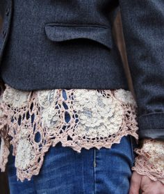 Sewn to the inside jacket edge. Many ways to recycle doilies into wearable art. Worth a look. http://diyfashionsense.wordpress.com/2012/12/09/best-of-doily-remakes/
