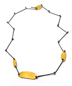 """ERICA BELLO-USA - 23k Gold keum-boo and oxidized silver necklace """"Influenced by natural elements, Bello's work expresses a balance between structure, form and space."""" http://ericabellojewelry.4ormat.com/"""