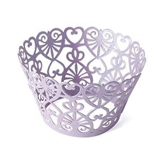 Cupcake wraps with filigree lace hearts..easily add a touch of class to your cupcakes. Add #cupcake style to your parties, wedding and special events.