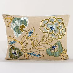 "Floral Burlap Lumbar Throw Pillow | World Market    $34.99  •Crafted of jute (front) and cotton chambray (back) with rayon embroidery and polyester filling  •14""x20"""