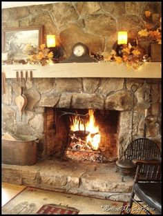 Love the stone on the fireplace.