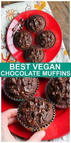 Vegan Gluten-free Double Chocolate Muffins made with almond flour and oat flour and are so rich, decadent and delicious! You would never know they are dairy-free and oil-free! #vegan #chocolate #muffins #glutenfree Easy No Bake Desserts, Vegan Desserts, Dessert Recipes, Vegan Treats, Healthy Treats, Healthy Food, Best Vegan Chocolate, Gluten Free Chocolate, Chocolate Recipes