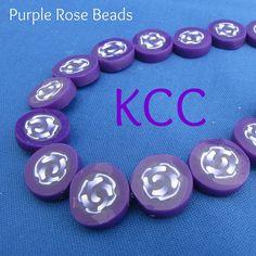 Purple rose polymer clay beads