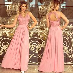 Pastel Pink Split Maxi Dress with Embroidered Lace Bodice & Cut out Back Beige Maxi Dresses, Prom Dresses Long Pink, Pink Dress, Lace Dress, Dress Prom, Maxi Dress With Slit, Lace Bodice, Stunning Dresses, Women's Fashion Dresses