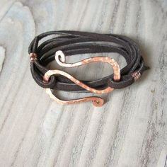 Like the clasp on this piece: Leather Wrap Bracelet, Dark Brown Suede, Hammered Copper Bracelet, Recycled Metal by reva