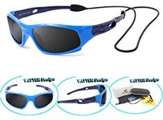 5addb9a2f4a Amazon.com  RIVBOS Rubber Kids Polarized Sunglasses with Strap Glasses  Shades for Boys Girls Baby and Children Age 3-10 RBK004 (826-Dark Blue)   Sports   ...