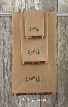 Northwoods New Embroidered Pine cone /& Sprig 3 piece tan towel set Cabin decor