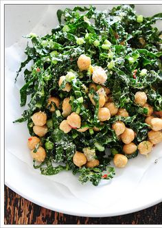 I love kale salad. I love chickpeas. Why have I never thought to put them together??? kale & chickpea salad