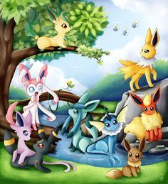Eeveelutions by Exceru-Hensggott on deviantART Pokemon Fusion, Pokemon Go, Pikachu, Pokemon Pins, Pokemon Images, Pokemon Pictures, Digimon, Chibi, Pokemon Eevee Evolutions
