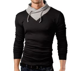 Long Sleeve Hip-Hop Stitching Collar T-Shirts //Price: $18.36 & FREE Shipping //     #discount